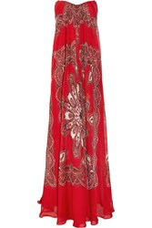 Alexander Mcqueen Strapless Paisley Print Silk Chiffon Gown Red