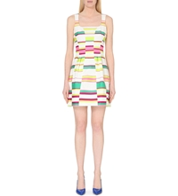Karen Millen Striped Fit And Flare Dress Multi Coloured