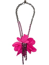 Lanvin Floral Pendant Necklace Pink And Purple