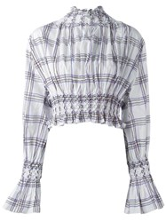 Kenzo Plaid Smocked Blouse White