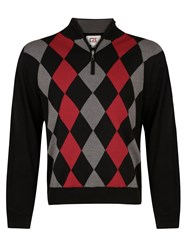 Cutter And Buck Zip Neck Argyle Lined Sweater Black