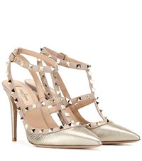 Valentino Rockstud Metallic Leather Pumps Pink