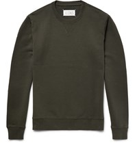 Maison Martin Margiela Leather Elbow Patch Loopback Cotton Jersey Sweatshirt Green