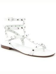 Daniel William Square Studded Gladiator Sandals White