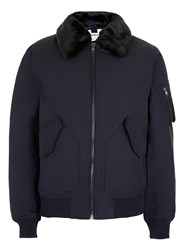 Topman Men's Navy Padded Flight Jacket Dark Blue