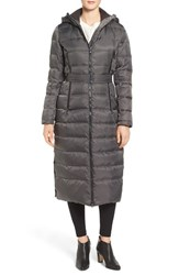 Vince Camuto Women's Belted Hooded Down And Feather Fill Maxi Coat Iron