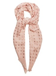 Valentino Star Print Wool And Silk Blend Scarf Light Pink