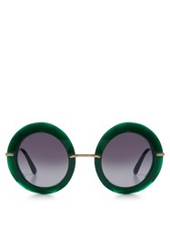 Dolce And Gabbana Round Frame Acetate Sunglasses Green