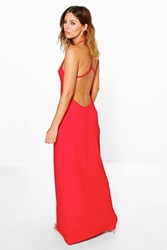 Boohoo Strappy Back Maxi Dress Red