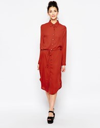 Goldie Runaway Midi Shirt Dress Orange