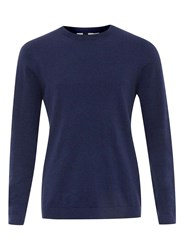 Topman Navy Marl Crew Neck Jumper Blue