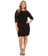 Adrianna Papell Plus Size Bateau Neck Long Sleeve Lace Overlay Black Women's Dress