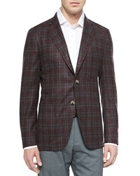 Isaia Wool Plaid Sport Coat Gray Red