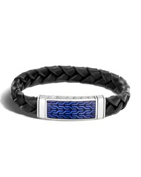 John Hardy Men's Classic Chain Woven Leather Bracelet Black Blue