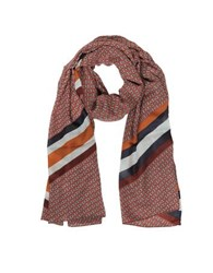 Tory Burch Gemini Link Striped Oblong Wool Scarf Red