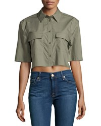 Equipment Signature Cropped Short Sleeve Blouse Dusty Olive