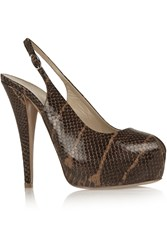 Giuseppe Zanotti Monro Snake Effect Leather Slingback Pumps Brown