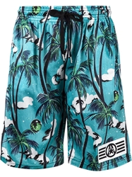 99 Is 99 Is Tropical Print Shorts Blue