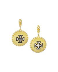 Freida Rothman Crystal Maltese Cross Shield Drop Earrings Women's