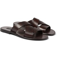 Dolce And Gabbana Leather Slides Dark Brown