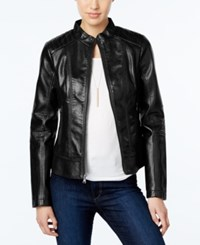 Guess Textured Leather Bomber Jacket Black