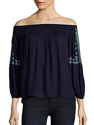 Kas Embroidered Off The Shoulder Top Navy