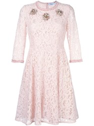 Blumarine Embellished Lace Dress Pink Purple