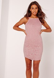 Missguided Racer Lace Mini Dress Pink Mauve
