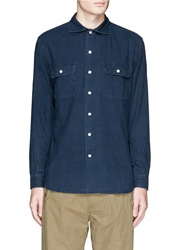 3X1 Spread Collar Selvedge Denim Shirt Blue