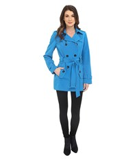 Calvin Klein Double Breasted Belted Trench W Gunflaps Capri Blue Women's Coat