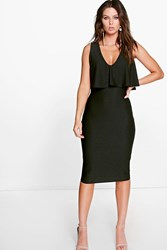 Boohoo Plunge Neck Double Layer Midi Dress Black