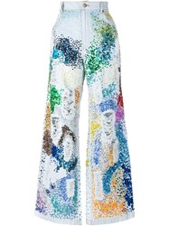 Ashish Distressed Sequin Embellished Jeans Blue