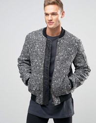 Asos Wool Mix Bomber Jacket With Ma1 Pocket In Salt And Pepper Black