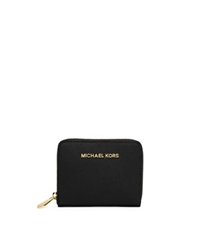 Michael Kors Jet Set Travel Medium Zip Around Saffiano Leather Wallet Black