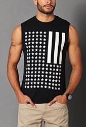 Forever 21 American Flag Muscle Tee Black White