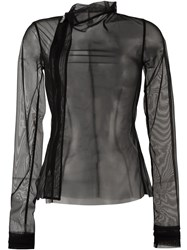 Rick Owens Lilies Sheer Biker Jacket Black