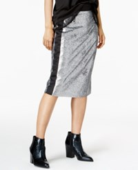 Bar Iii Sequined Pencil Skirt Only At Macy's Silver
