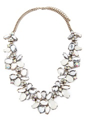 Forever 21 Faux Gemstone Statement Necklace Antic Gold Cream