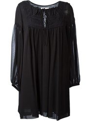 See By Chloe See By Chloe Embroidered Bib Loose Dress Black