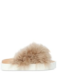 Msgm 30Mm Shearling Slide Flats