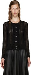 Marc Jacobs Black Knit Ruffle Cardigan