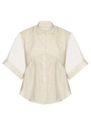 Cecilie Copenhagen Carroll Short Sleeved Cotton And Silk Blend Shirt Ivory