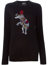 Markus Lupfer Sequin Circus Elephant Sweater Black