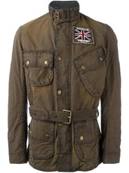Barbour Belted Military Jacket Brown