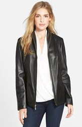 Cole Haan Women's Wing Collar Lambskin Leather Jacket Black