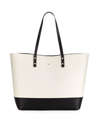 Cole Haan Beckett Colorblock Leather Tote Bag Ivory Black