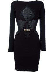 Versace Collection Ribbed Panel Fitted Dress Black