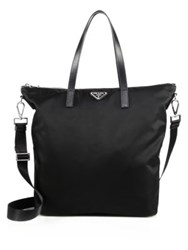 Prada Nylon And Leather Zip Tote