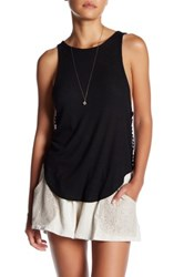 Anama Ribbed Crochet Trim Blouse Black