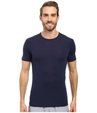 Icebreaker Anatomica Short Sleeve Crewe Admiral Black Men's T Shirt Blue